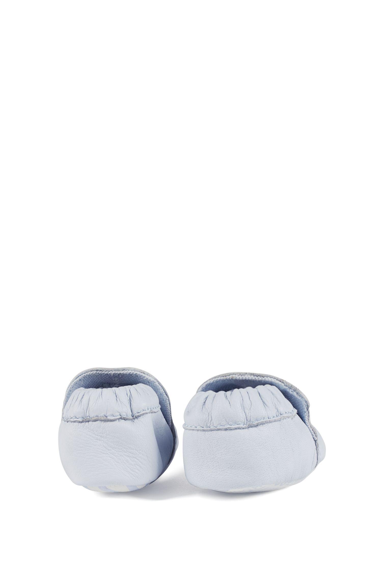 Baby-Boots aus echtem Leder mit Logo-Details, Hellblau