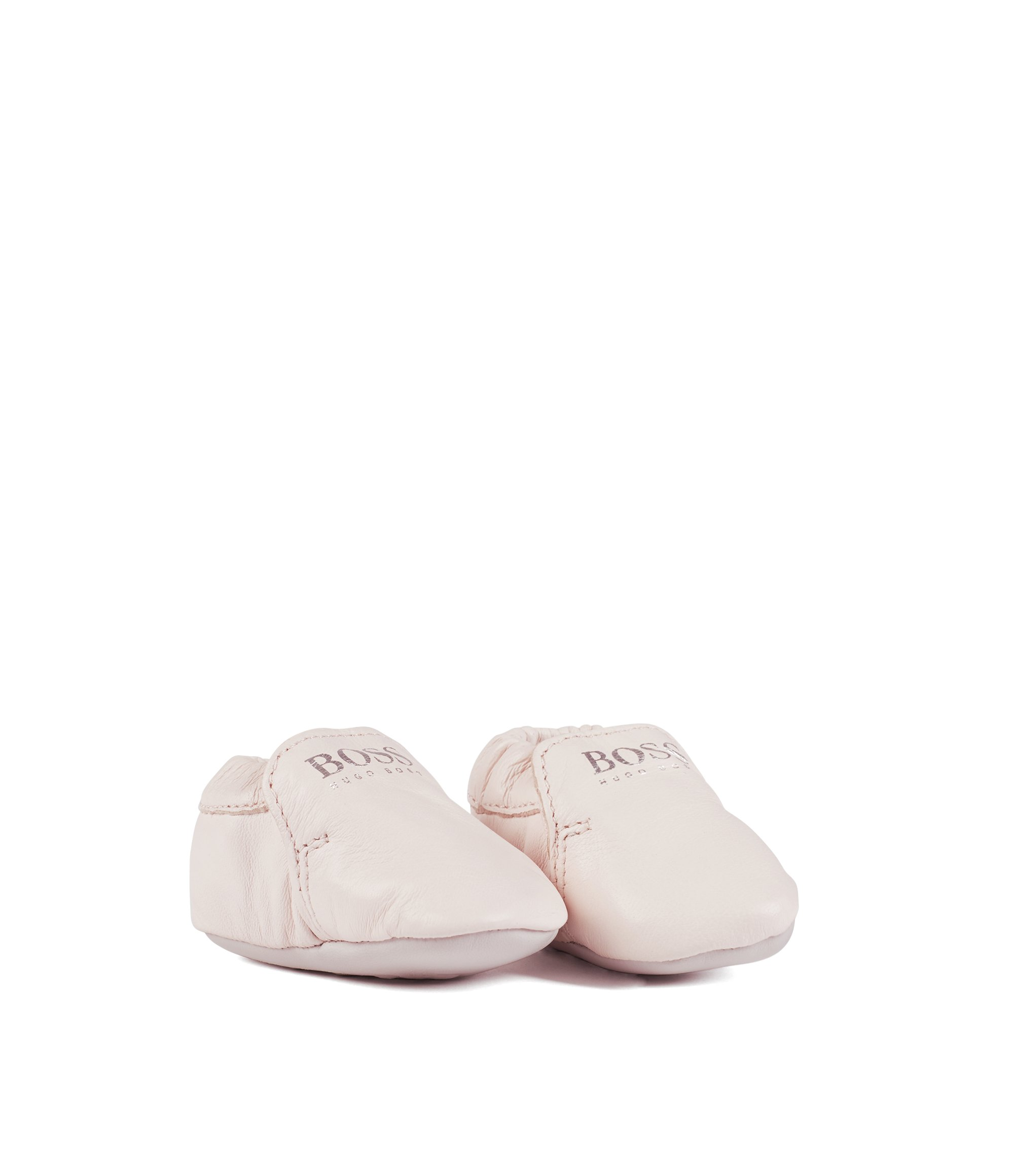 Baby girl leather booties with logo detail, light pink