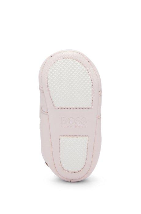 Baby-Booties aus Leder mit elastischen Schnürsenkeln, Hellrosa
