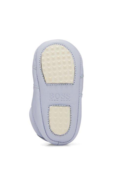 Baby-Sneakers aus weichem Leder mit Logo-Details, Hellblau