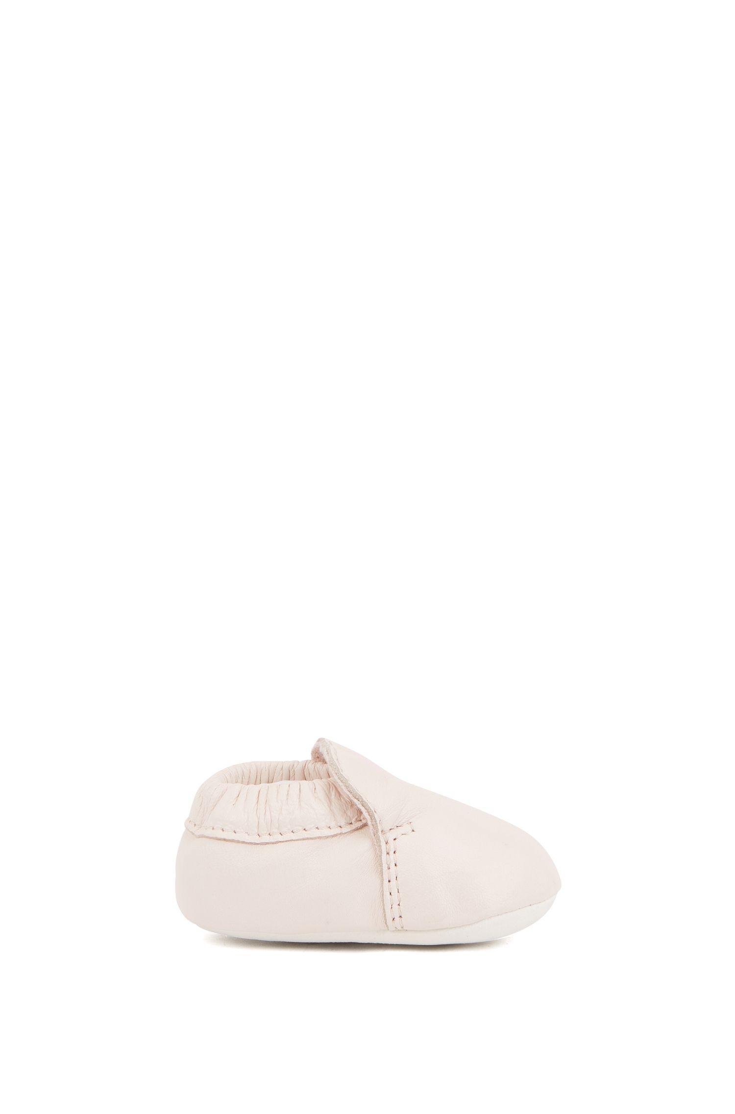 Stivaletti da neonato in pelle con logo stampato, Rosa chiaro