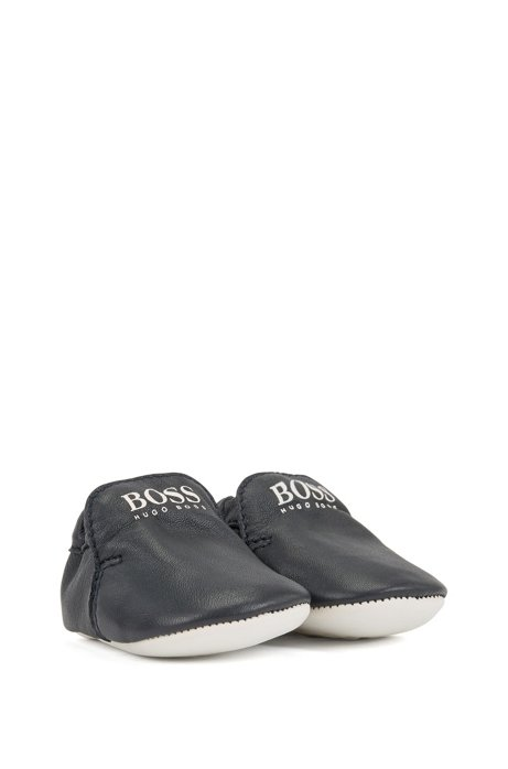 Baby booties in leather with printed logo, Dark Blue