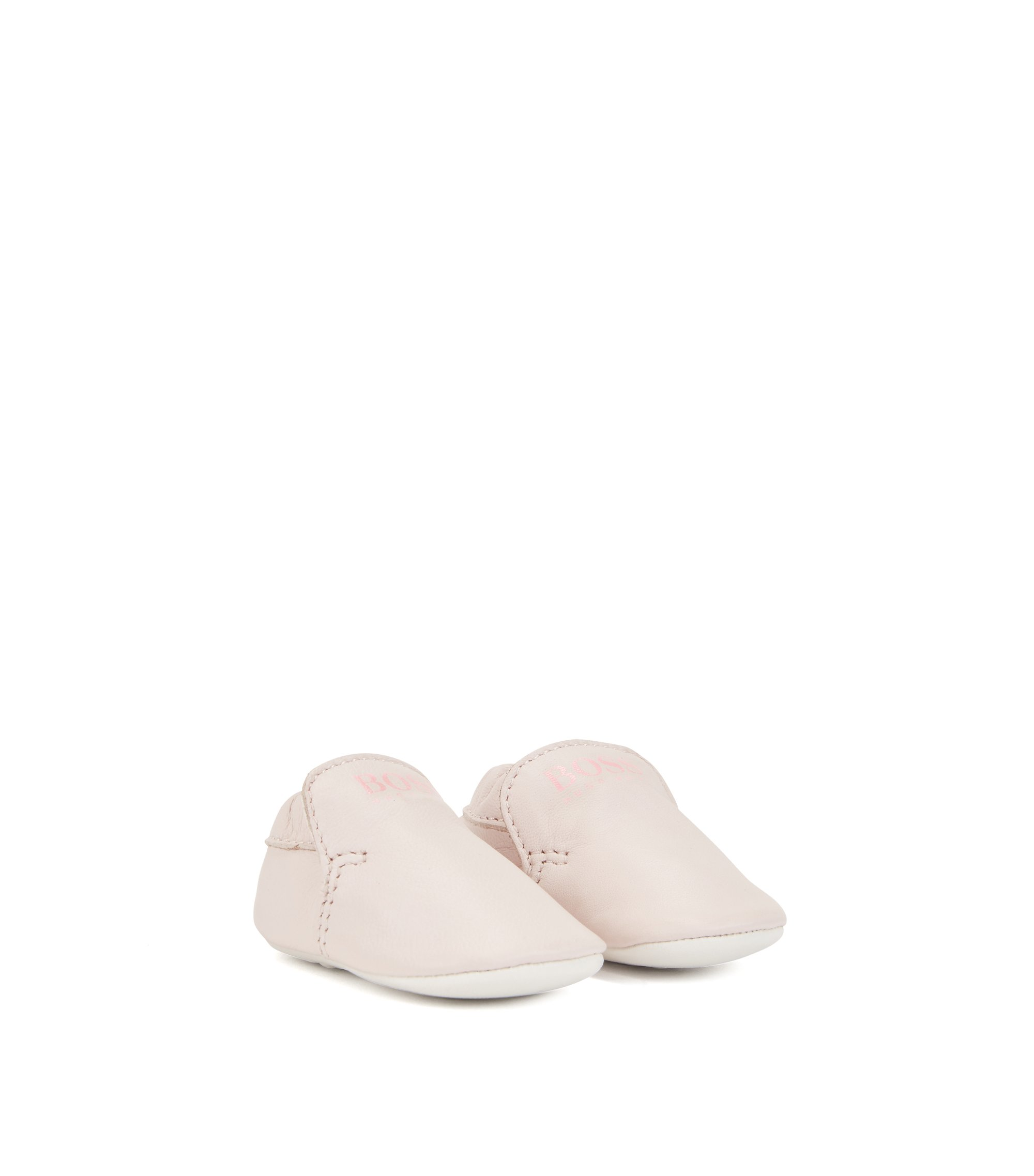 Baby girl booties in soft leather, light pink