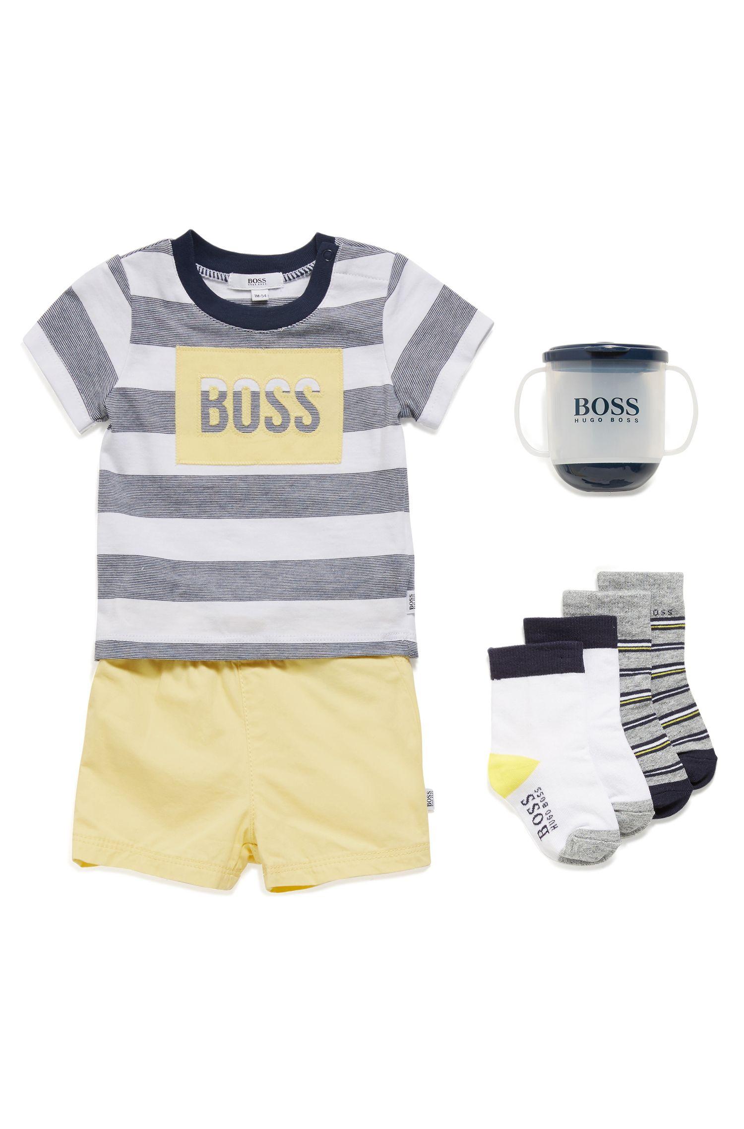 Set T-shirt e pantaloncini per neonato in puro cotone, A disegni