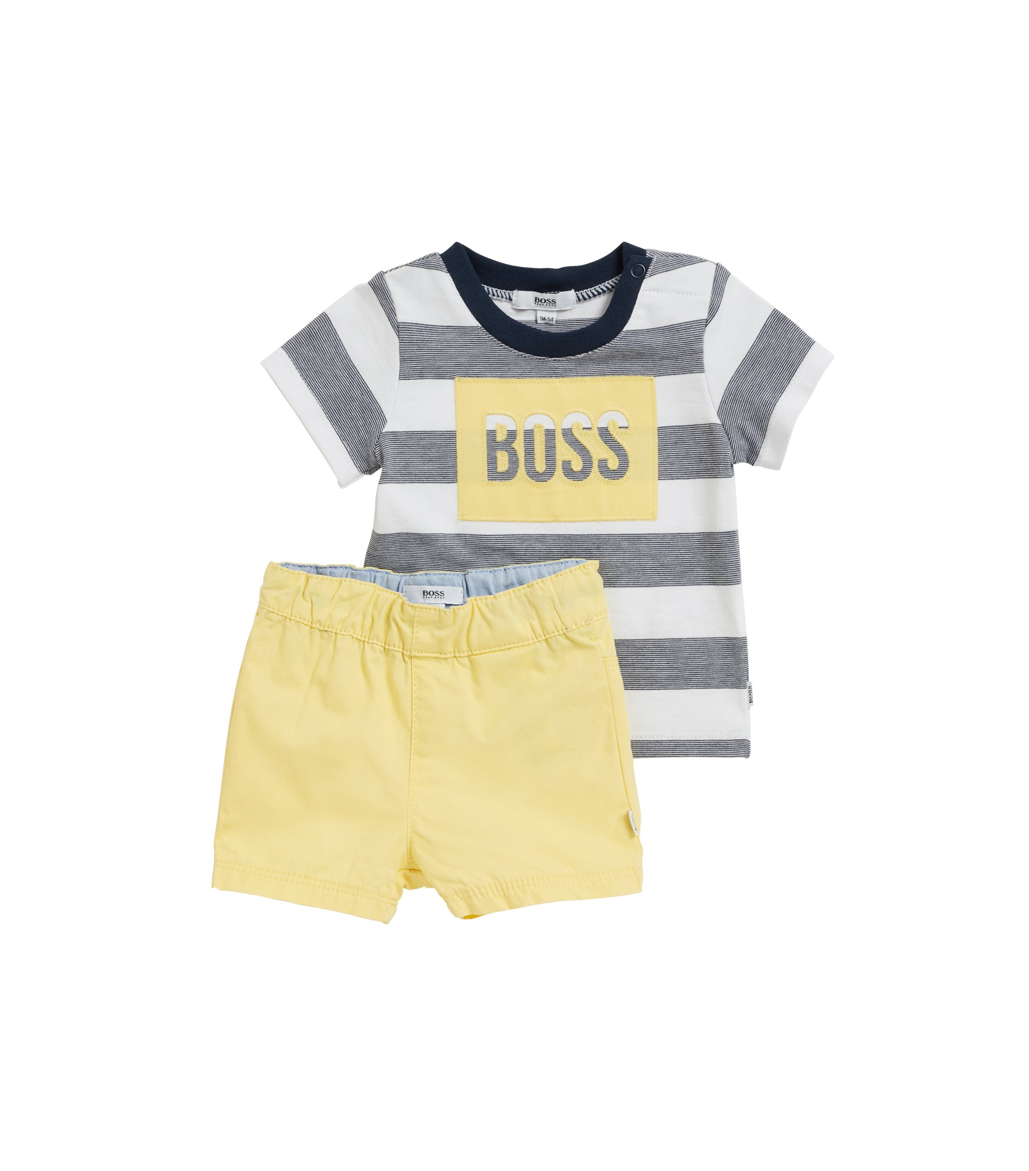 Baby T-shirt and shorts set in pure cotton, Patterned