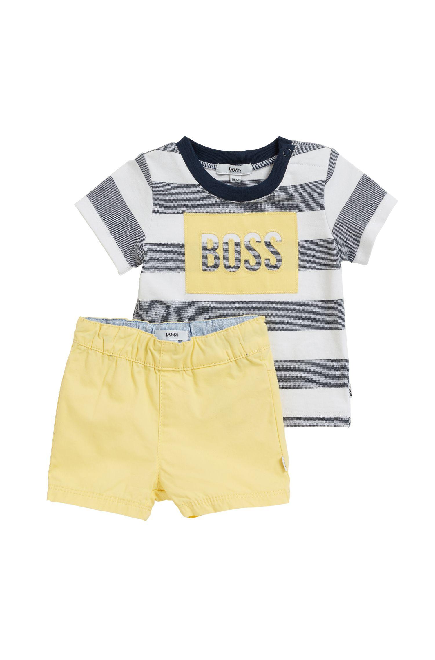 Set van baby-T-shirt en short in zuivere katoen