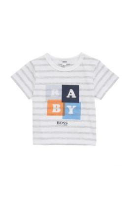 Coffret cadeau avec t-shirt en coton à rayures et short en twill pour bébé, Gris chiné