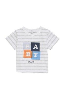Cadeauset voor baby's, met gestreept T-shirt van katoen en short in een twill, Lichtgrijs