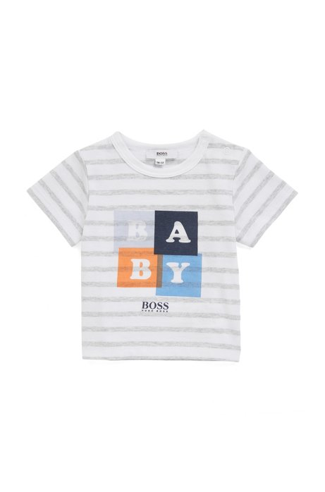 Baby striped cotton T-shirt and twill shorts gift set, Light Grey