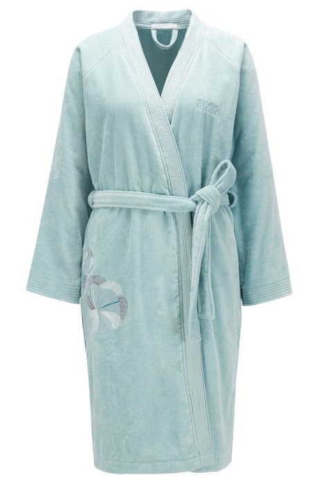 Cotton bathrobe with embroidery, Blue