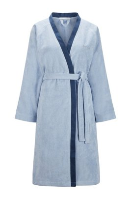 Melange-cotton bathrobe with embroidered logo, Light Blue