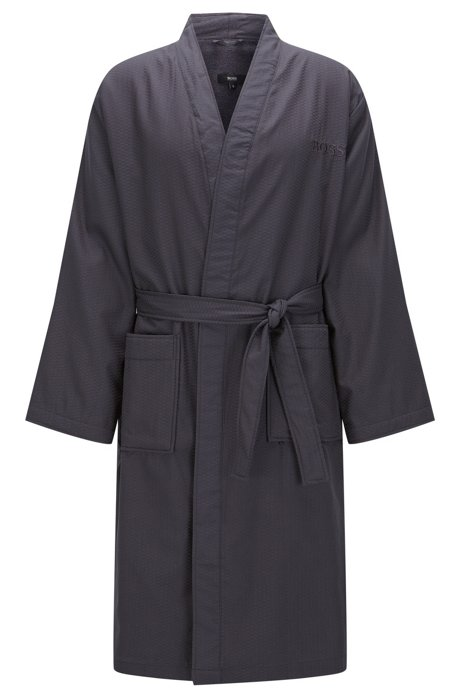 Pure cotton satin kimono with terry lining, Anthracite