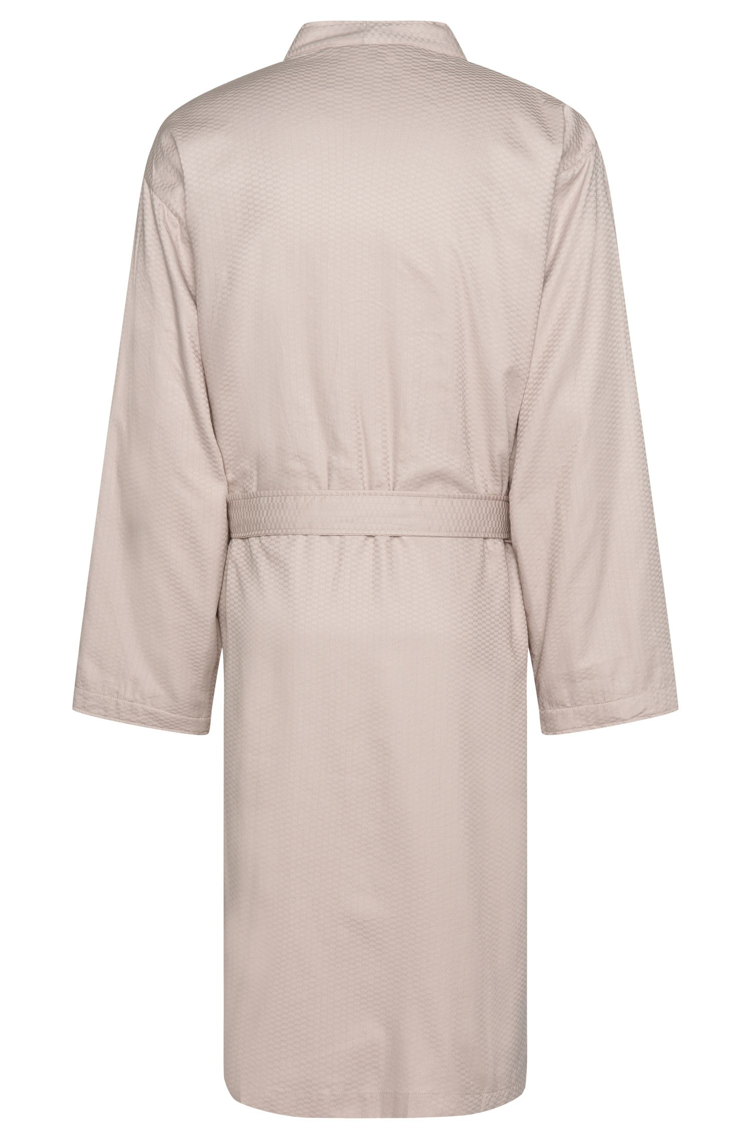 Pure cotton satin kimono with terry lining, Beige