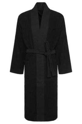 Kimono-style bathrobe in combed Aegean cotton, Black