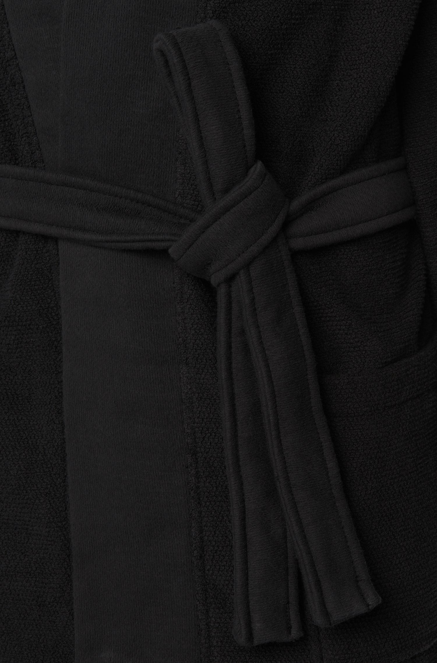 Kimono-style bathrobe in combed Aegean cotton, Black