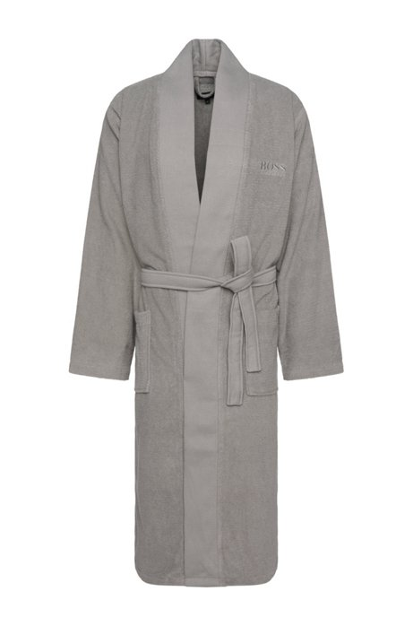 Kimono-style bathrobe in combed Aegean cotton, Grey