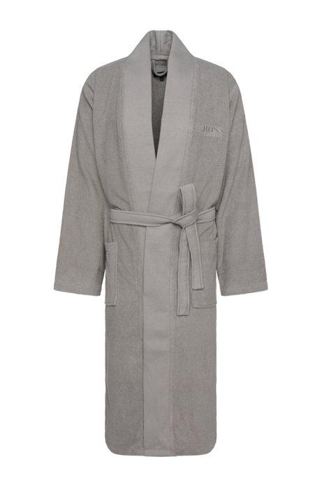 Bademantel im Kimono-Stil aus gekämmter ägäischer Baumwolle, Grau