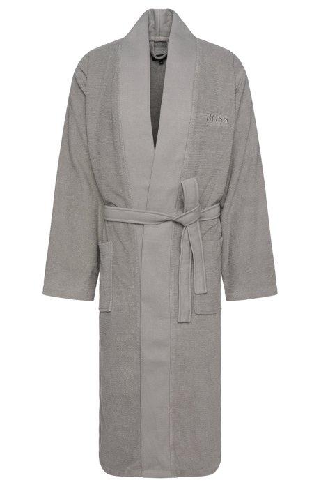 Kimono-style bathrobe in combed Aegean cotton, Grey