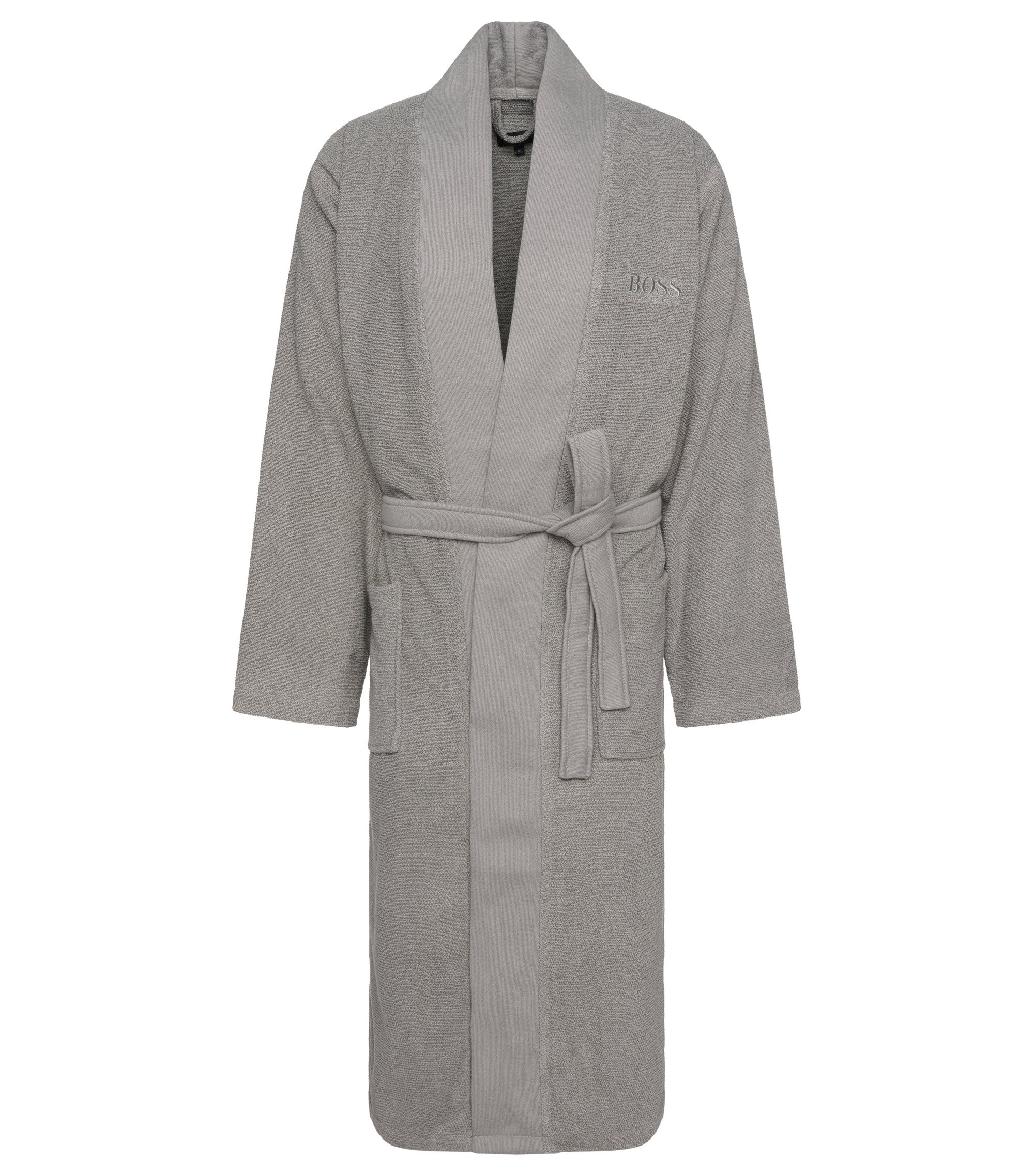 Kimono-style bathrobe in combed Aegean cotton, Silver