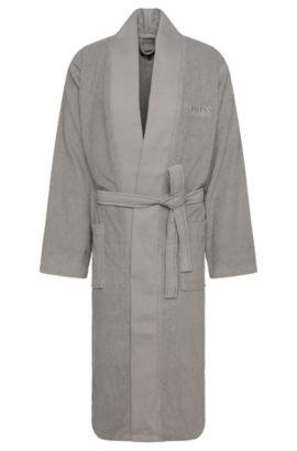 Bademantel im Kimono-Stil aus gekämmter ägäischer Baumwolle, Silber