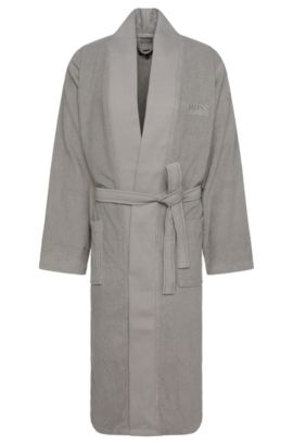Bathrobe in cotton with wrap belt: 'Kim-Loft-275M', Silver
