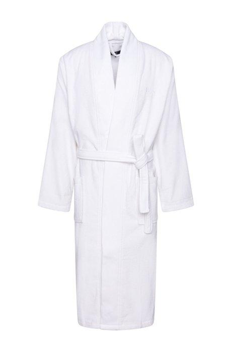 Kimono-style bathrobe in combed Aegean cotton, White