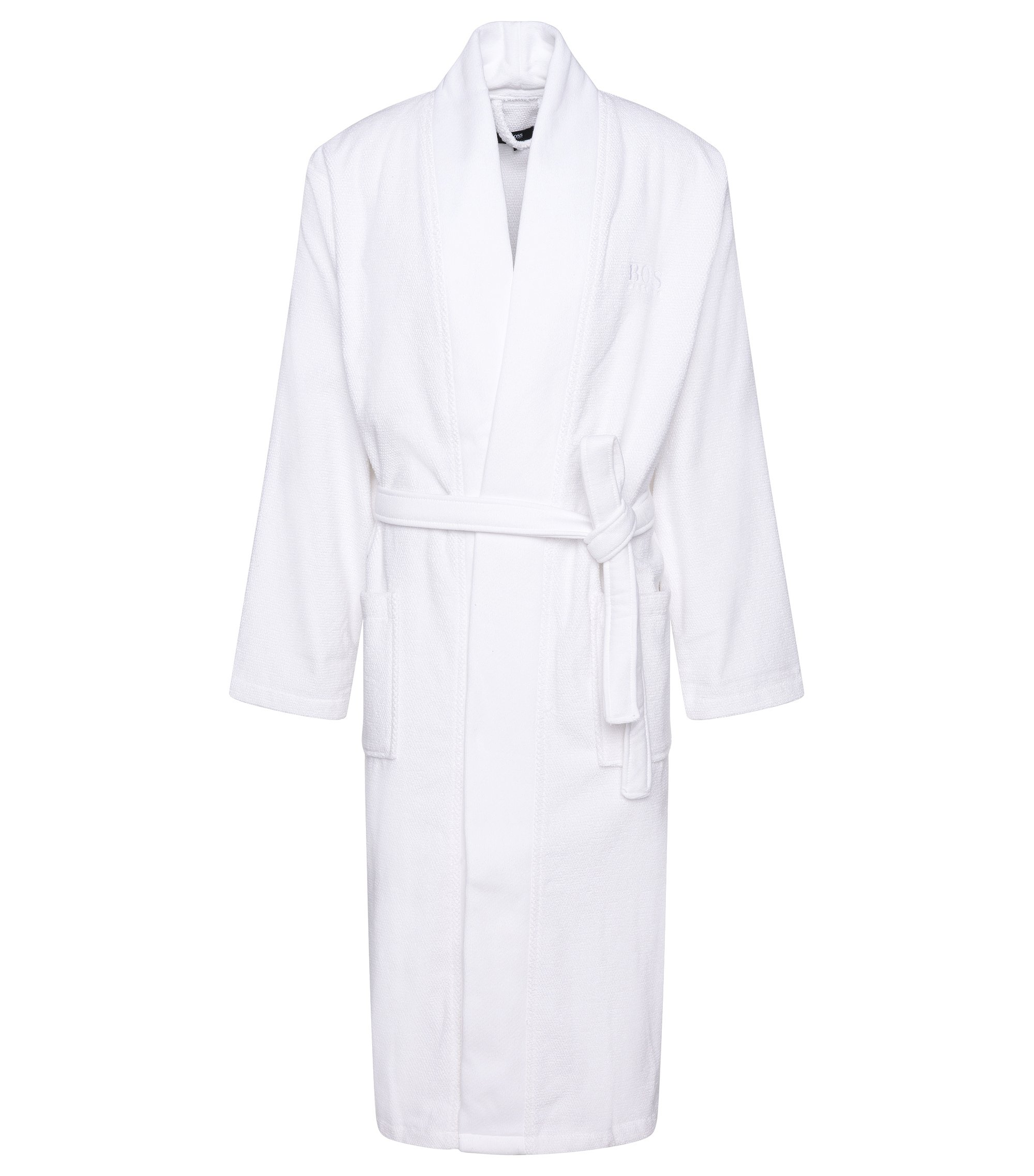 Kimono-style bathrobe in combed Aegean cotton, White