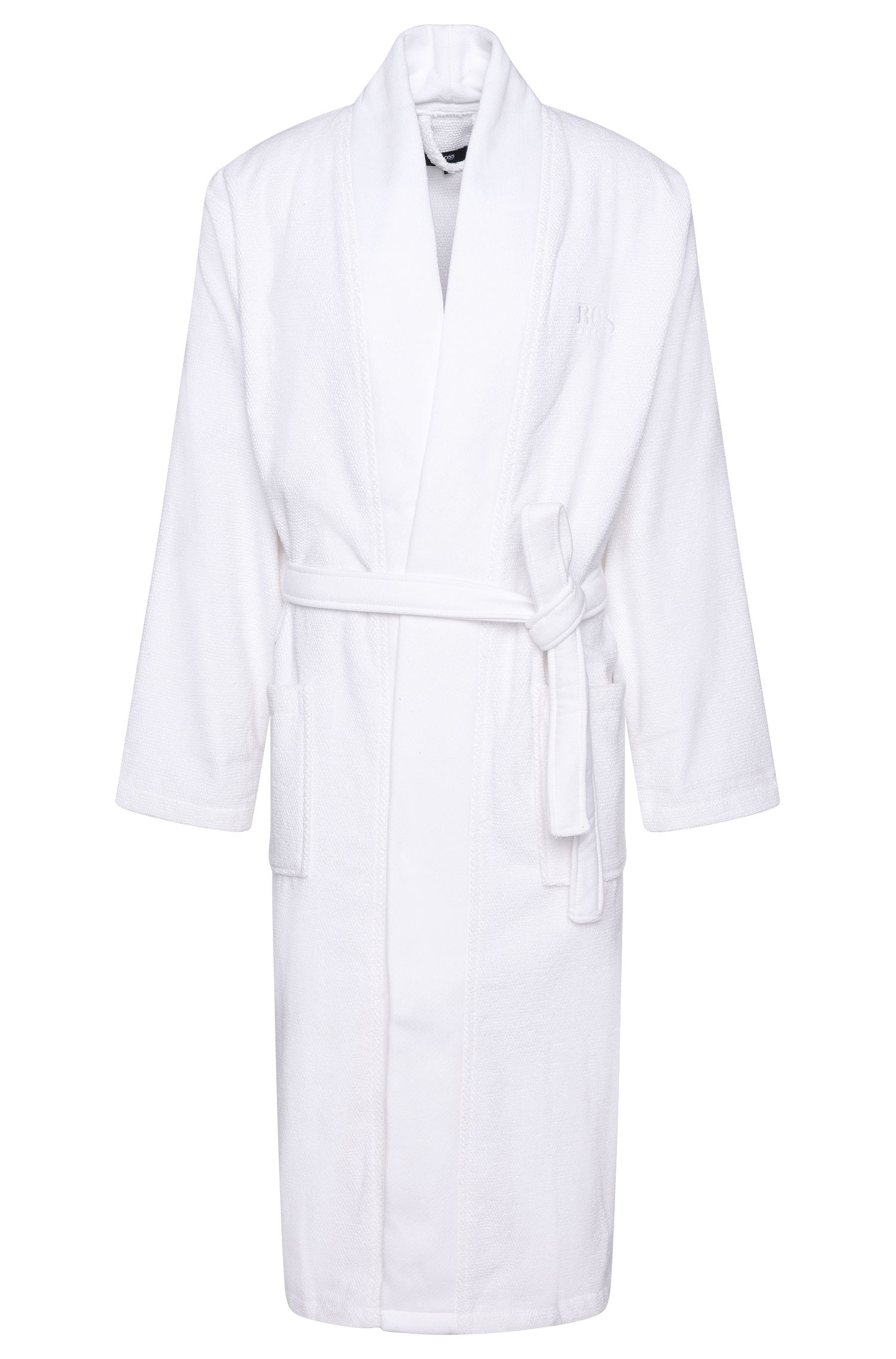 Kimono-style bathrobe in combed Aegean cotton