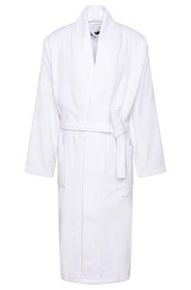 Bathrobe in cotton with wrap belt: 'Kim-Loft-275M', White