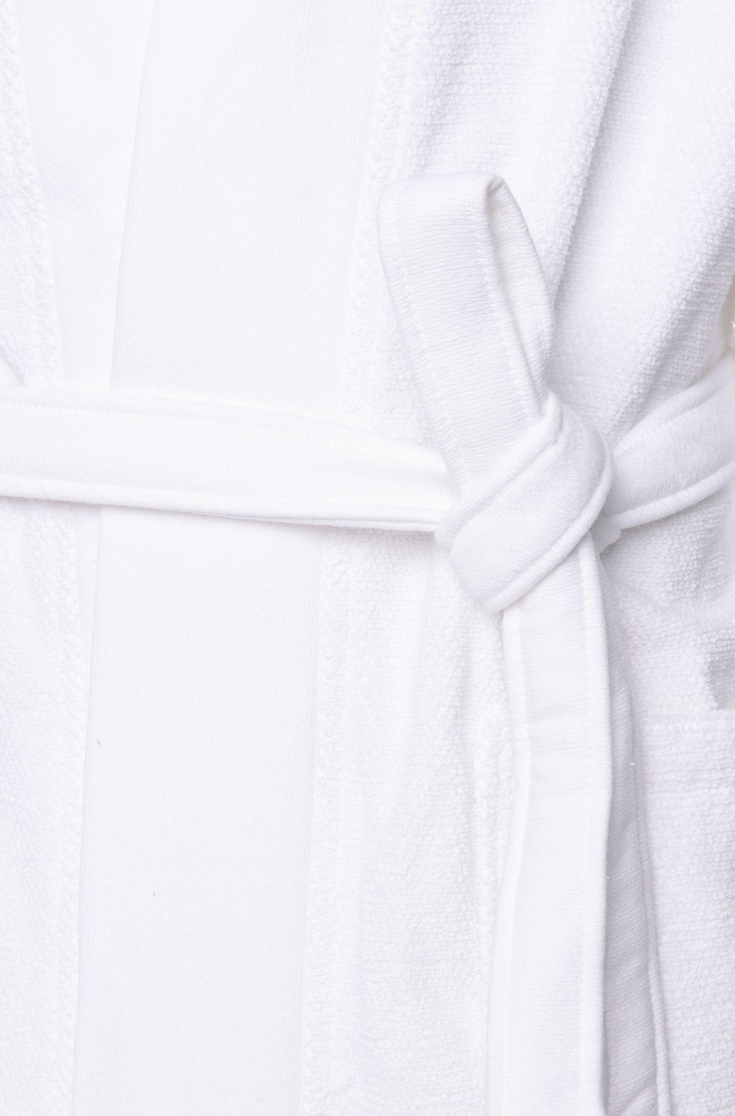 Bademantel im Kimono-Stil aus gekämmter ägäischer Baumwolle, Weiß