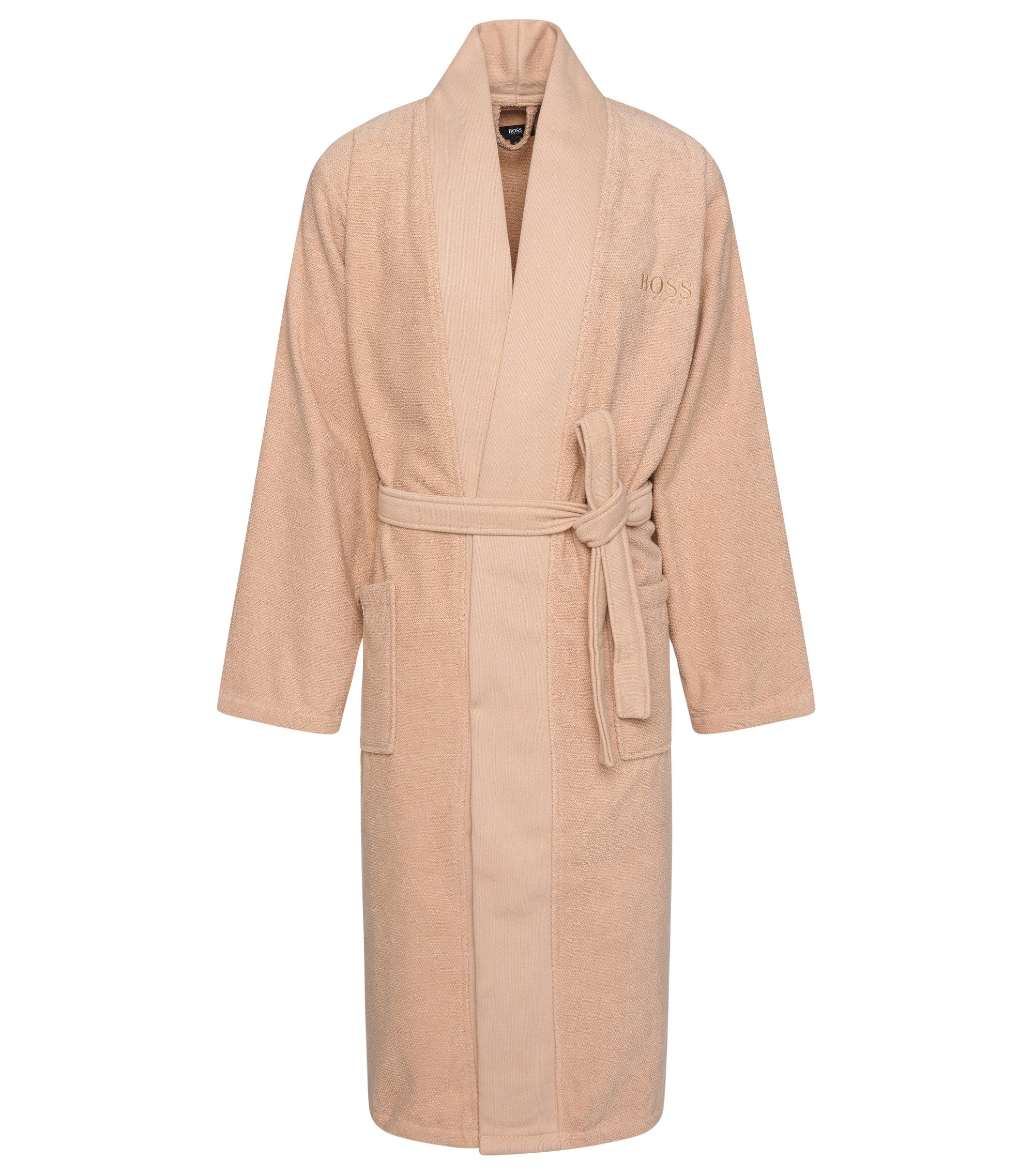 Kimono-style bathrobe in combed Aegean cotton, Beige