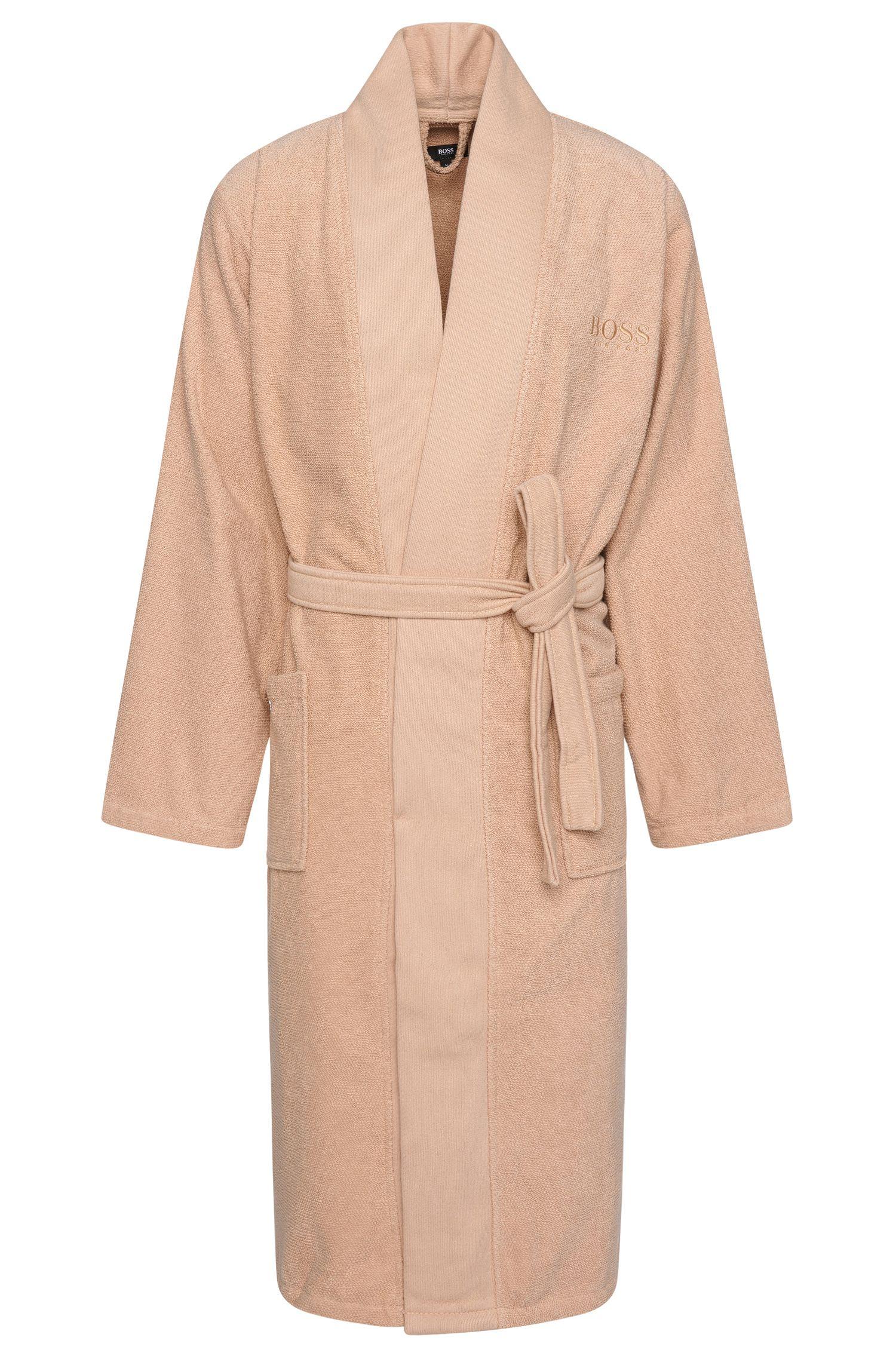 Kimono-style bathrobe in combed Aegean cotton, Beige