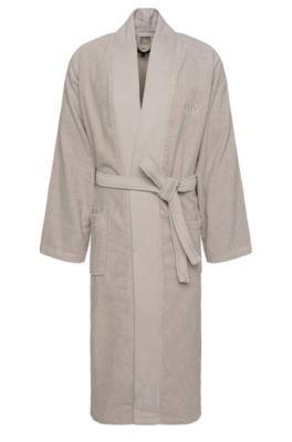 Kimono-style bathrobe in combed Aegean cotton, Light Beige