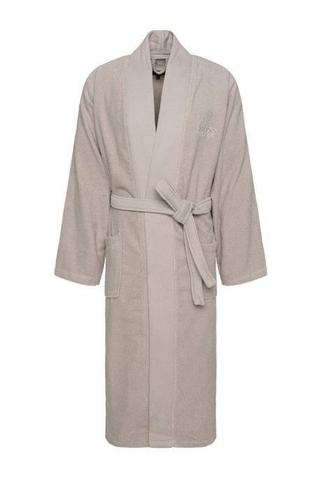 Peignoir style kimono en coton peigné de la mer Égée, Beige clair