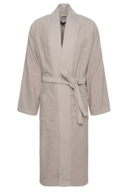 Kimono-style bathrobe in combed Aegean cotton, Light Beige
