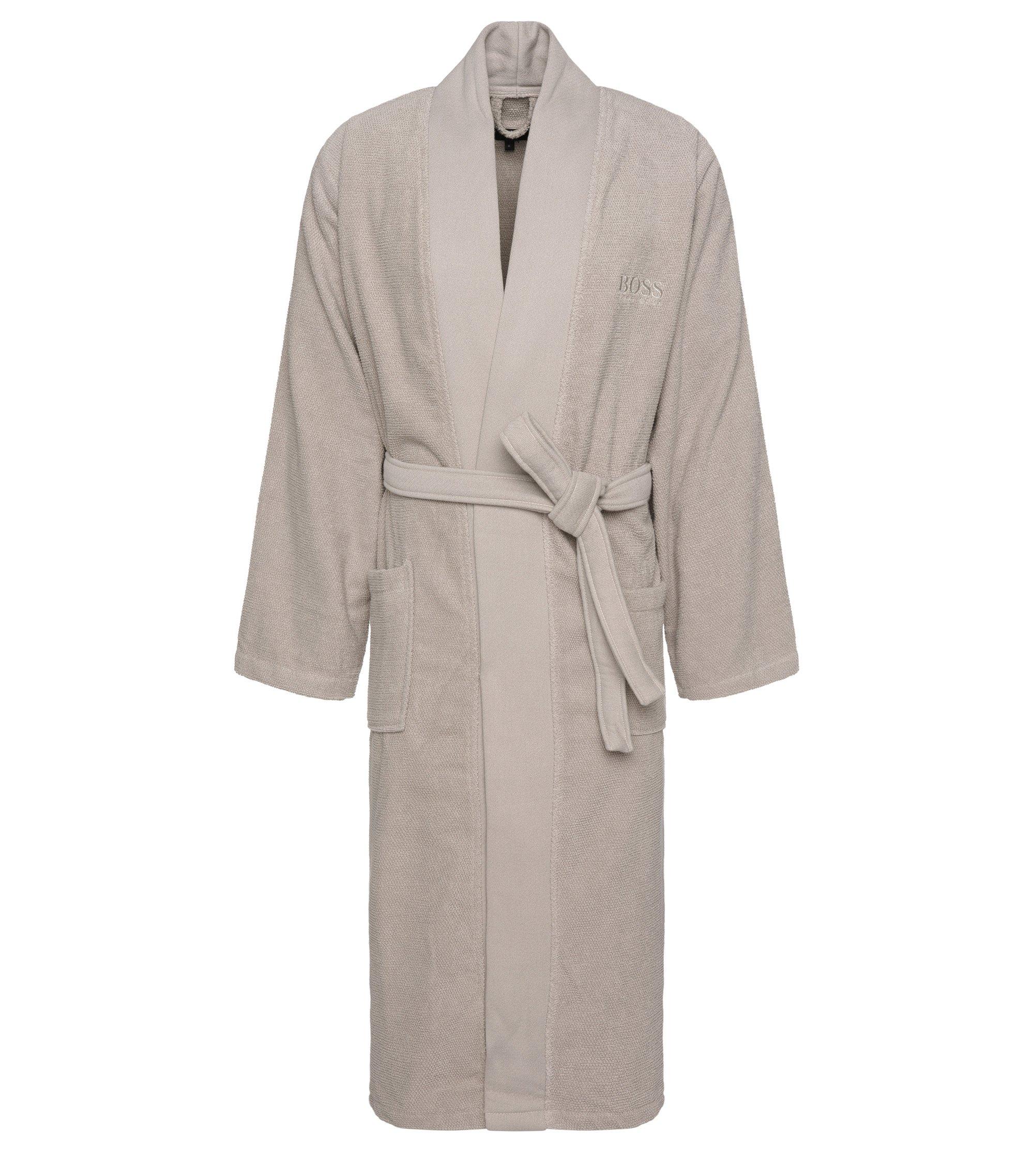 Bademantel im Kimono-Stil aus gekämmter ägäischer Baumwolle, Hellbeige