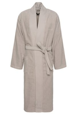 Bathrobe in cotton with wrap belt: 'Kim-Loft-275M', Light Beige