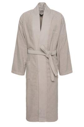 Peignoir en coton avec ceinture à nouer: «Kim-Loft-275M», Beige clair