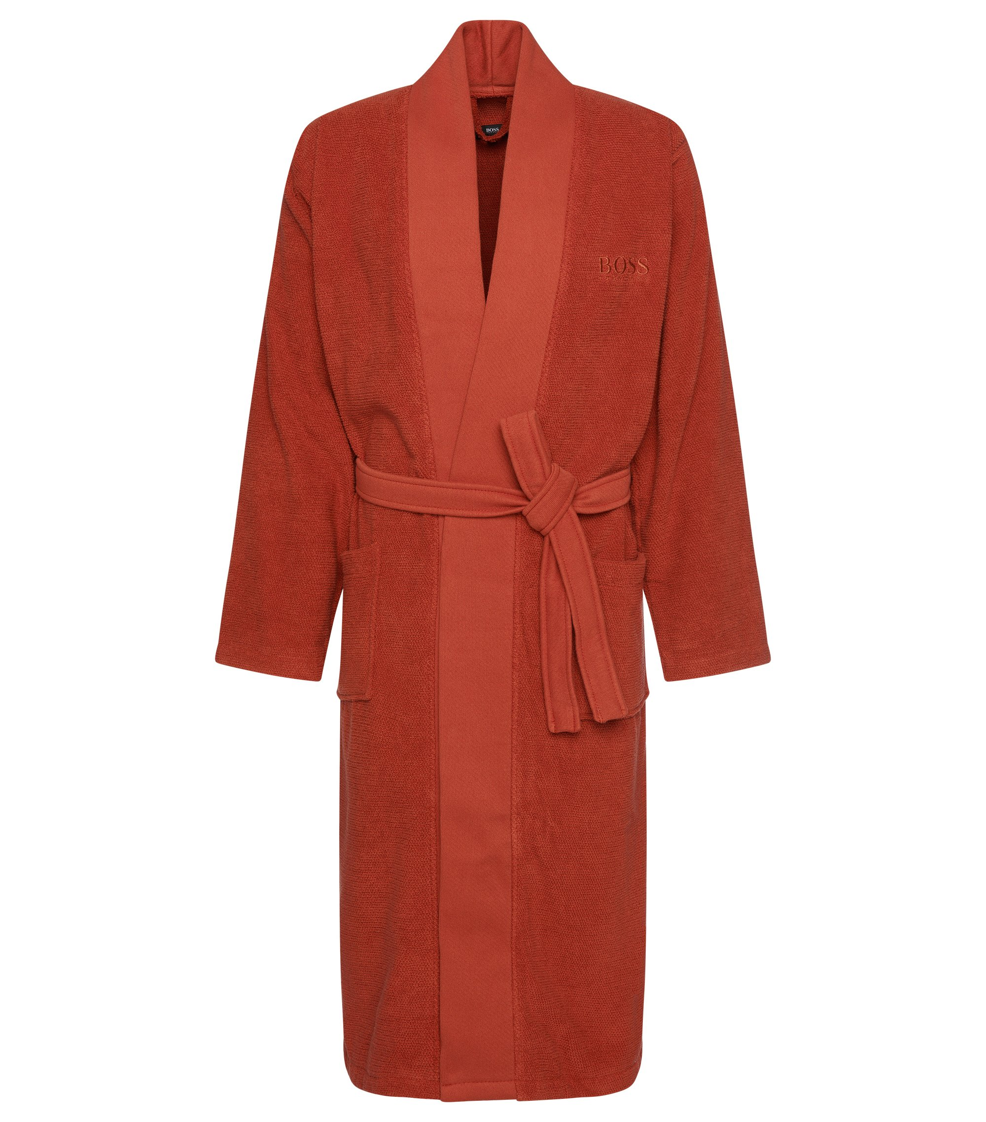 Kimono-style bathrobe in combed Aegean cotton, Dark Orange