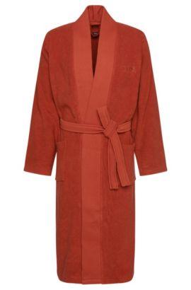 Bata de baño estilo kimono en algodón peinado del Egeo, Naranja oscuro