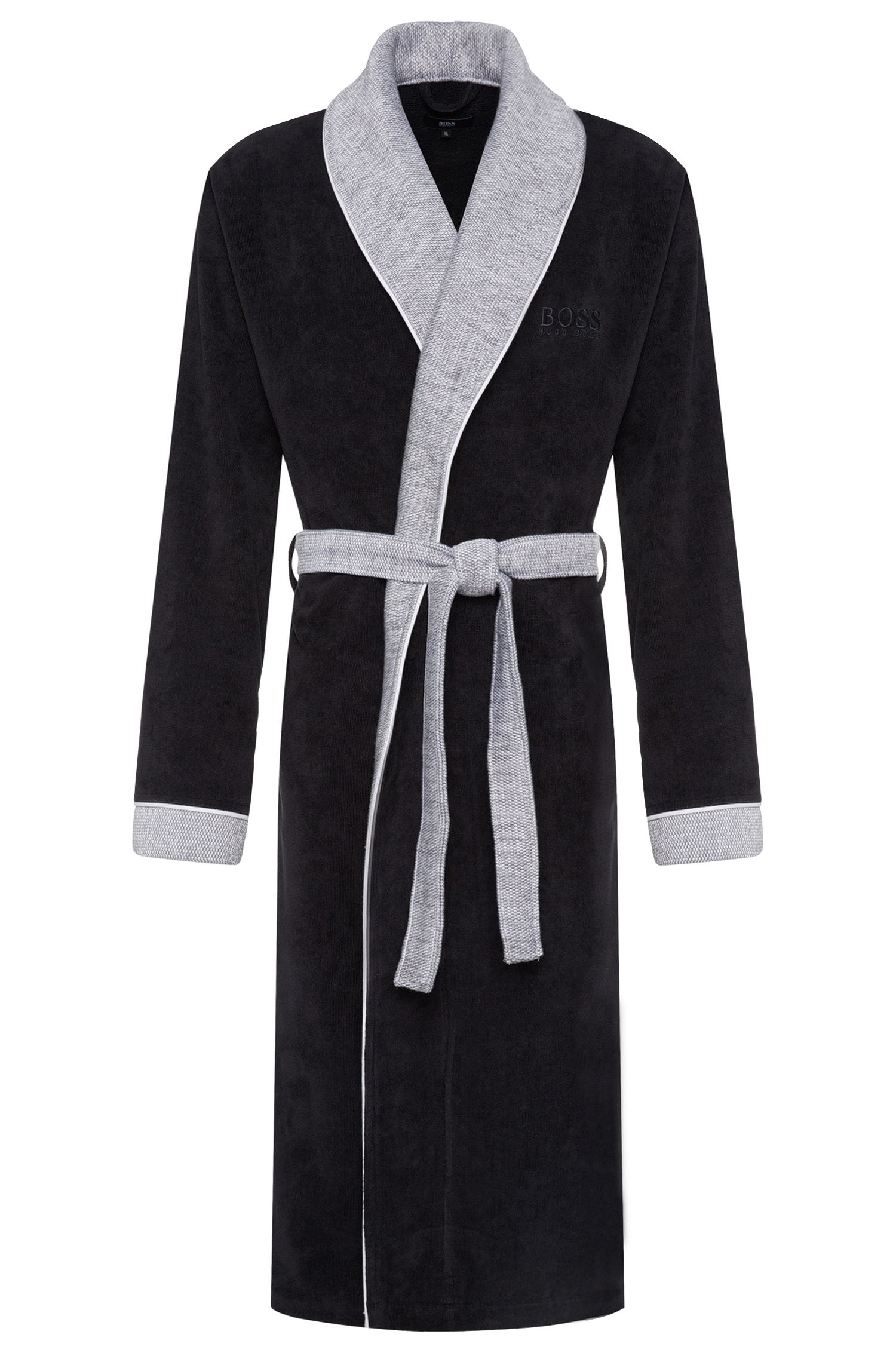 Cotton bathrobe with shawl collar