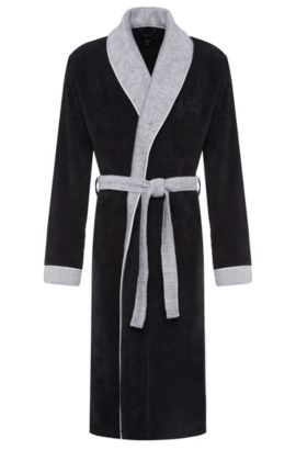 Dressing gown in cotton with colour-contrasting details: 'Kimono', Anthracite