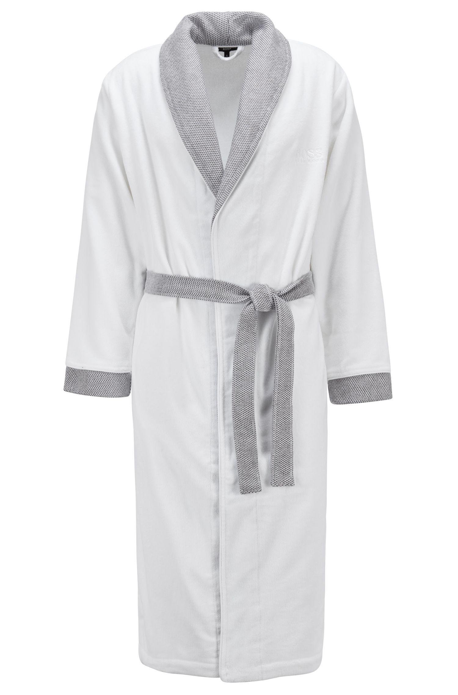 Cotton bathrobe with shawl collar, White