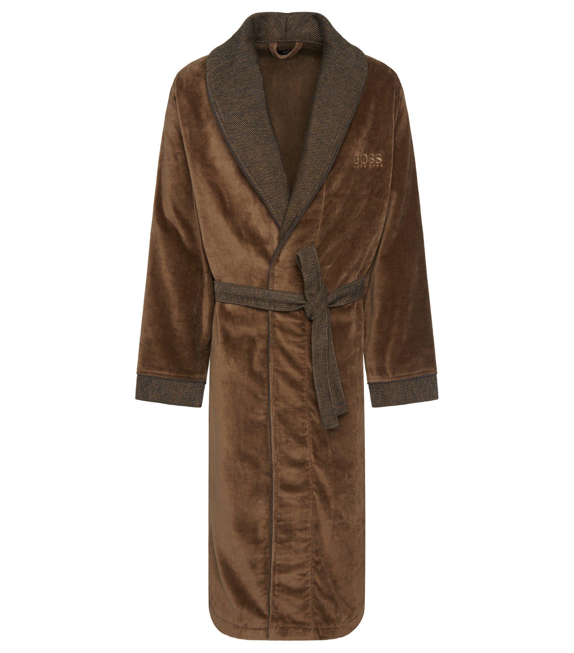 Ochtendmantel van katoen met contrastkleurige details: 'Kimono', Bruin