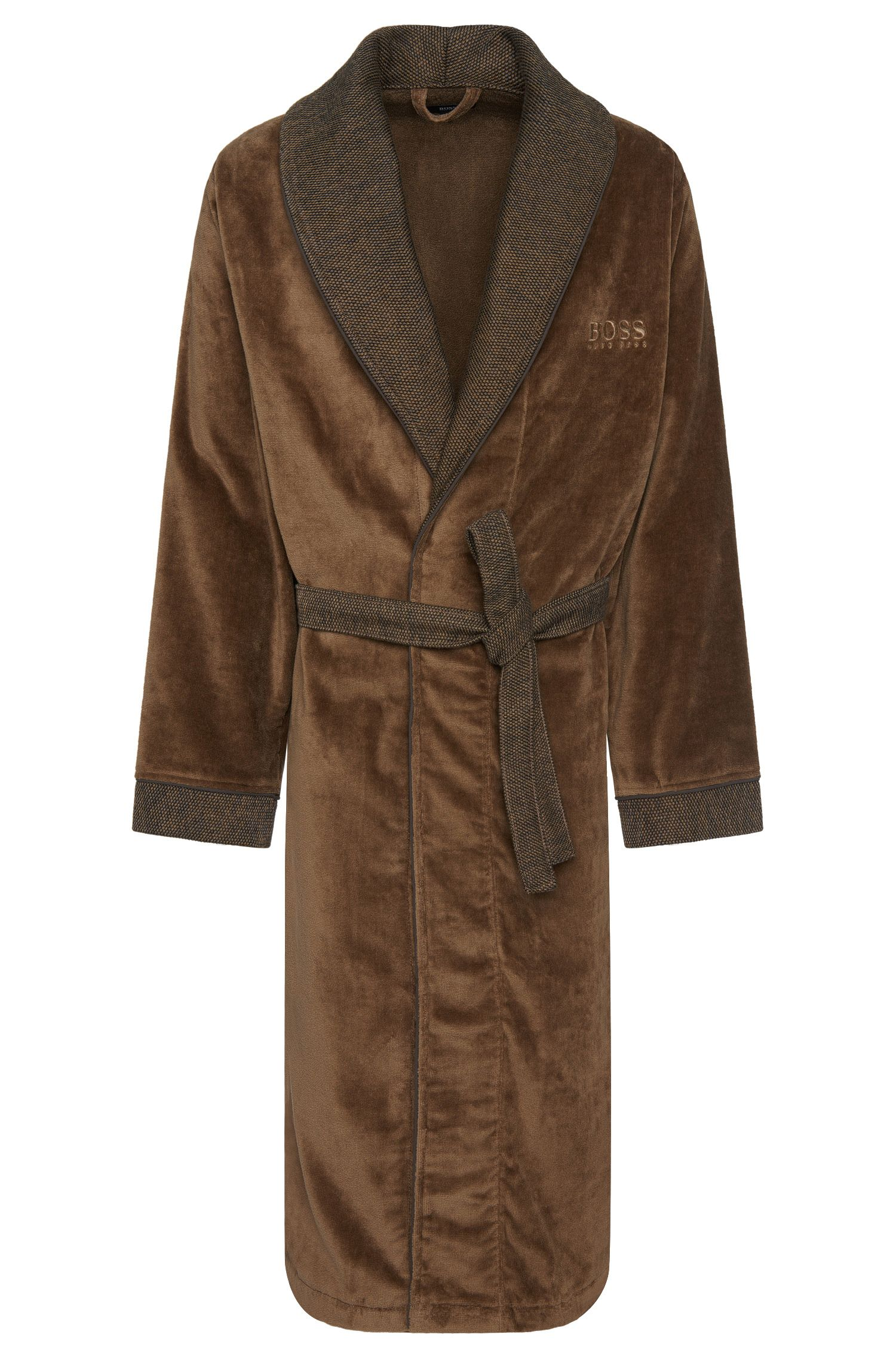 Dressing gown in cotton with colour-contrasting details: 'Kimono'