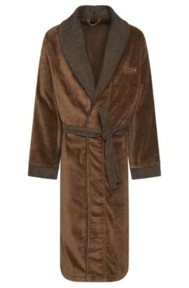 Dressing gown in cotton with colour-contrasting details: 'Kimono', Brown