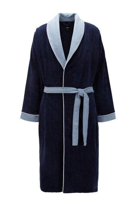 Accappatoio in cotone con collo a scialle, Blu scuro