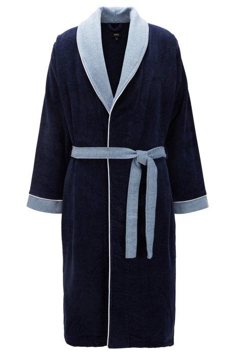 Cotton bathrobe with shawl collar, Dark Blue