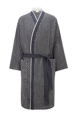 Monogram dressing gown in cotton jacquard, Dark Blue