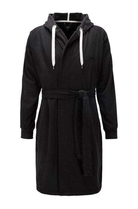 Vestaglia in misto cotone con cappuccio e rifiniture nastrate, Nero